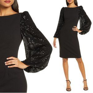 Eliza J Black Sequin Blouson Sleeve Cocktail Dress